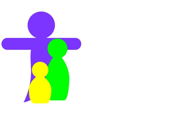 Family 1: Pictogram depicting a family with father, mother and child.Could be a mother and two children. Can represent many things.