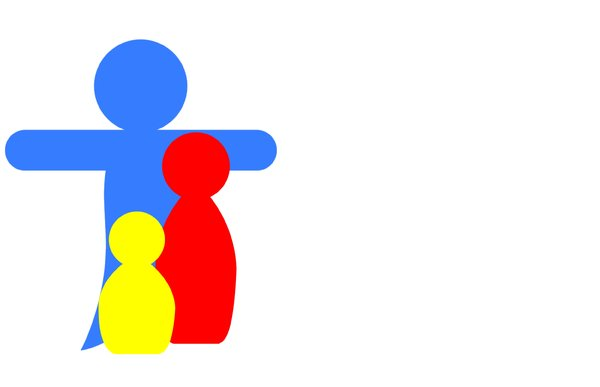 Family 3: Pictogram depicting a family with father, mother and child.Could be a mother and two children. Can represent many things.