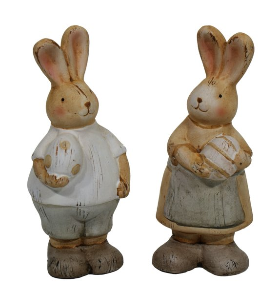 Easter hares: ceramic couple of hares isolated on white