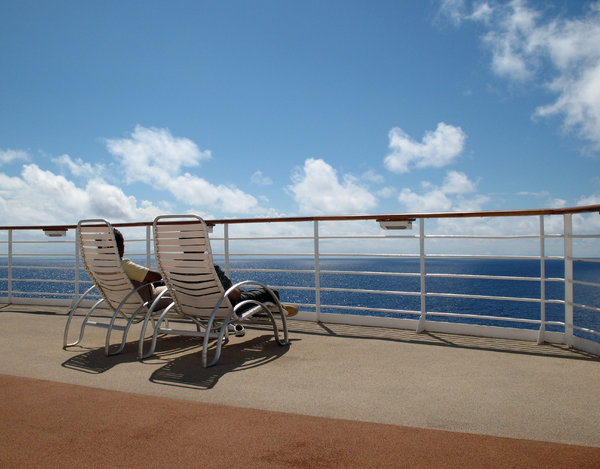 Relaxing: Relaxing on a cruise ship.
