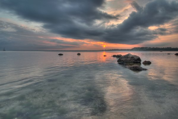 Calm waters - HDR: Calm waters before sunset. The picture is HDR using 7 images.