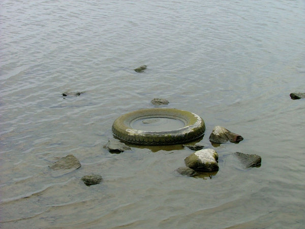 Old tire: An old tire lost in water and rocks near a lake in my village.