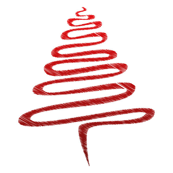 Red Scribble Xmas Tree.: Abstract Christmas tree, red over white.