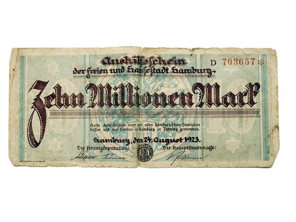 old money: old German crisis money. Ten million Reichs Mark.