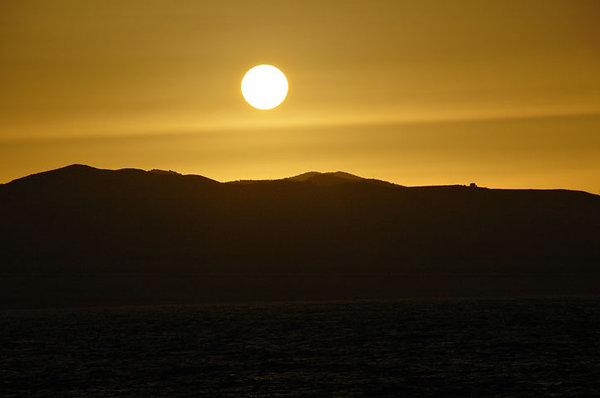 sunset over mountain: somewhere in Crete