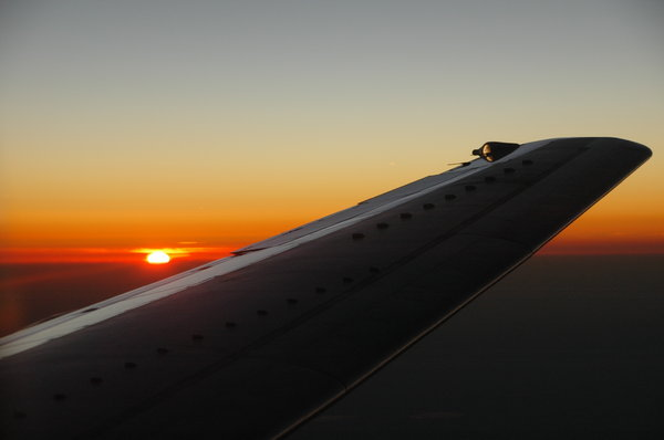 sunset at high altitude: sunset from plane
