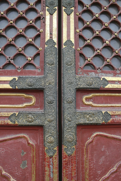 Ancient doors: Ancient doors in the Forbidden City, Beijing, China.