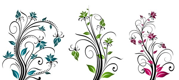 Yet Another Floral 4: Colorful floral elements on a white background. Which do you like most? ;)