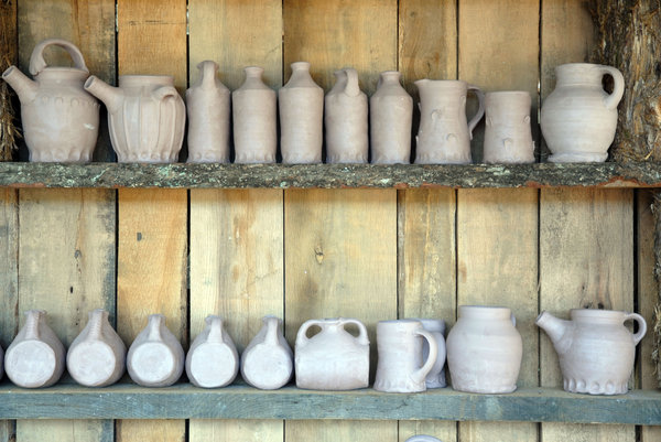 Pottery: Pottery on a shelf.