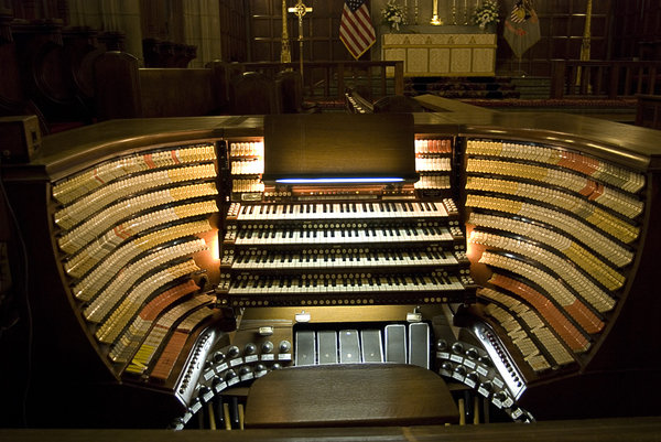 Organ at West Point: Organ Console at West Point Military Academy. This happens to be the largest organ in a religious building in the world. Higher Resolution available.