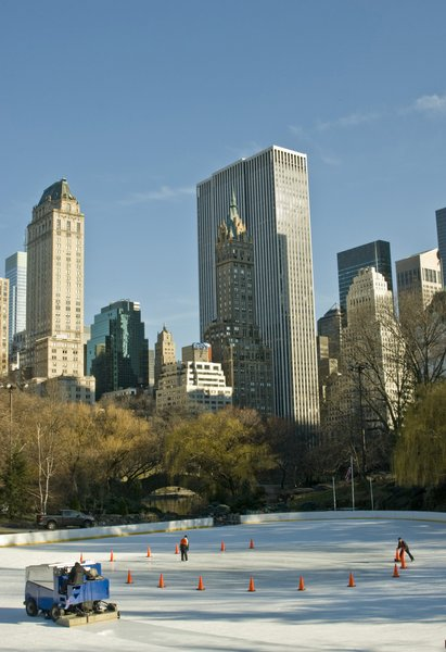 Central Park South Skyline: Central Park South In the early Spring with ice skating rink. Contact me for Higher resolution.
