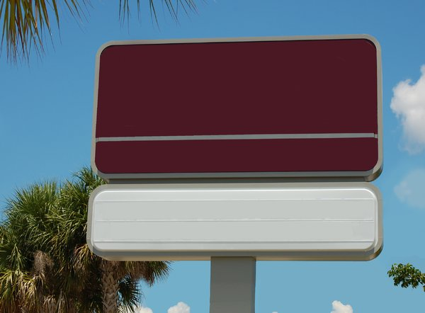 3 panel rectangular, 1 post on: free-standing sign used to convey advertising and information.