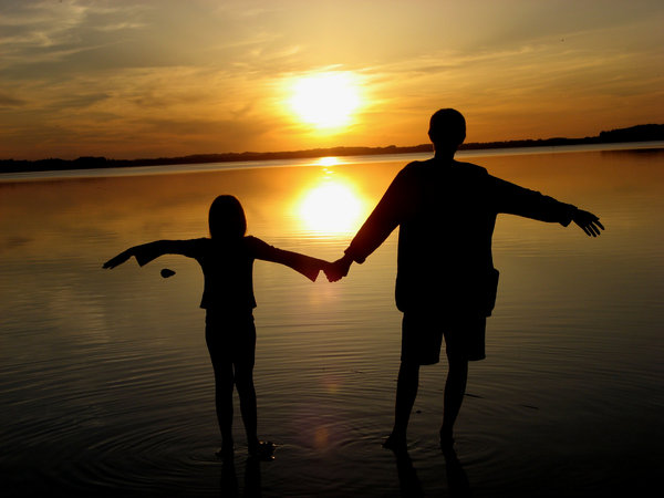 Enjoying sunset: My son and daughter