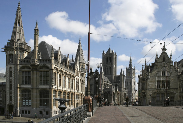 Belgium city scene: The old centre of Ghent, Belgium.
