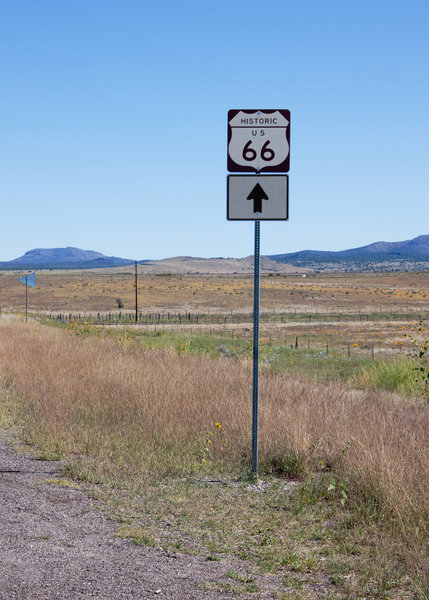 Route 66 sign: Route 66 sign just outside Seligman, Arizona