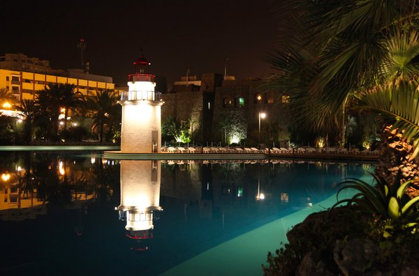 The lighthouse at night: Parque Maritimo del Mediterraneo, Ceuta, Spain.