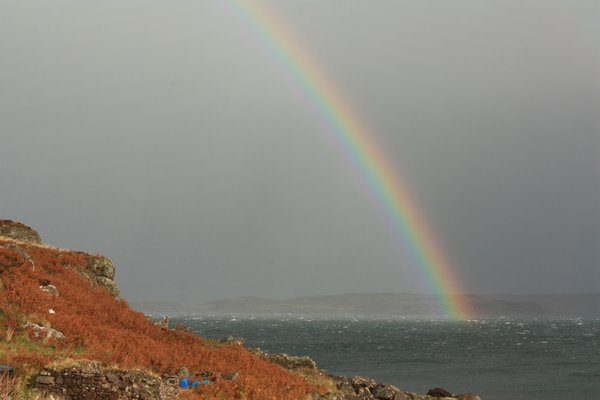 Rainbow over sea: Rainbow over Scottish sea loch