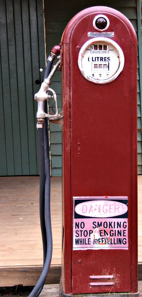 old bowser: old - antique petrol bowser - fuel pump