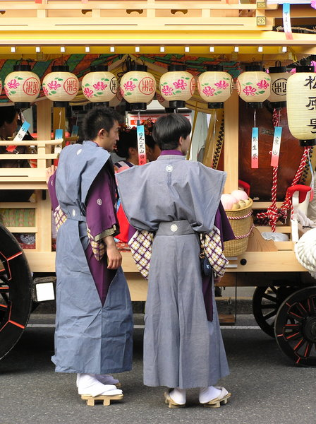 Japanese traditional costumes: Traditional cosutmes worn in a spring festival in Nikko, one of Japan's most famous holy cities