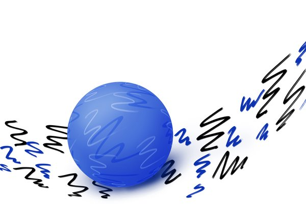Blue scribble ball: abstract ball illustration