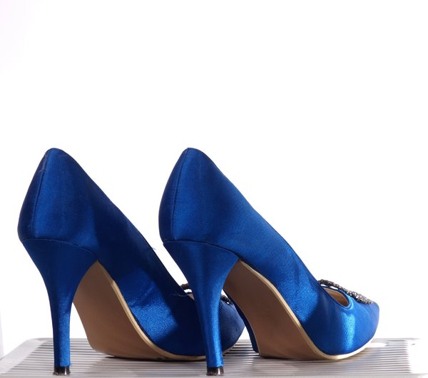 Blue shoes: A pair of womens shoes with high heels