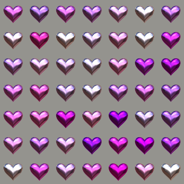 Lots of Hearts 10: Metallic or glass hearts in a geometric pattern, suitable for a texture, background, backdrop or fill, a birthday card or wrapping, anniversary, wedding, or valentine.