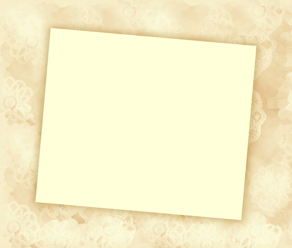 You're invited 5: Blank notecard in pastel sepia shades suitable for an invitation, banner, birthday, congratulations - many uses. White blank area against a textured pastel background.