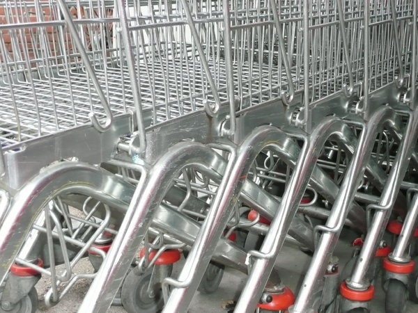 Shopping Carts: Shopping carts at a supermarket
