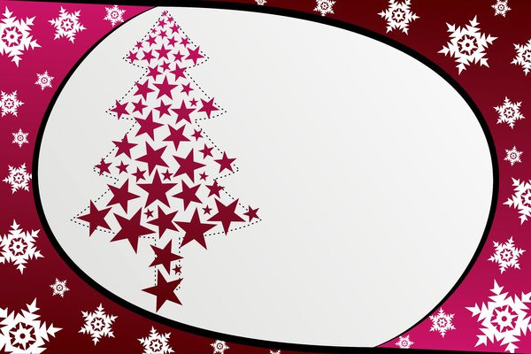 Star Christmas Tree: A Christmas tree made up of pink stars on a gray/pink background with snowflakes
