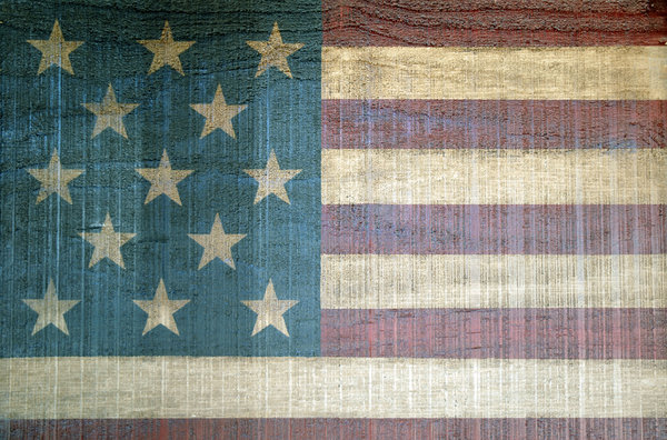 Painted Flag: A painted American flag.