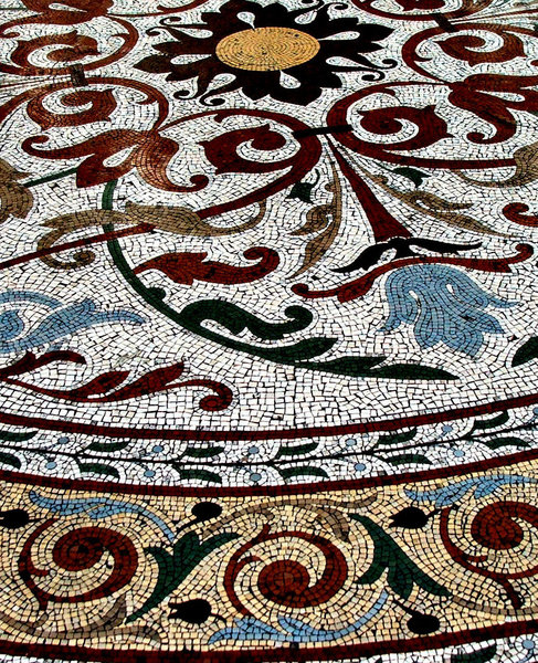 old floor mosaic: colourful old arcade mosaic floors