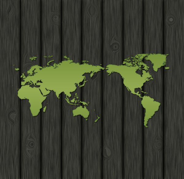 Green world: green world on wooden background graphic