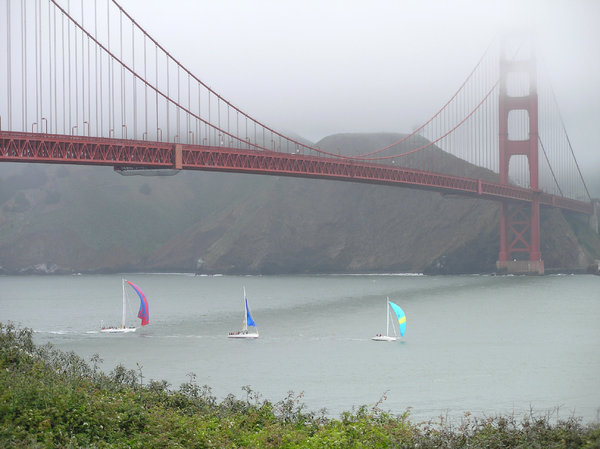 Golden Gate Bridge 6: The Golden Gate Bridge with boats on a misty day in San Francisco