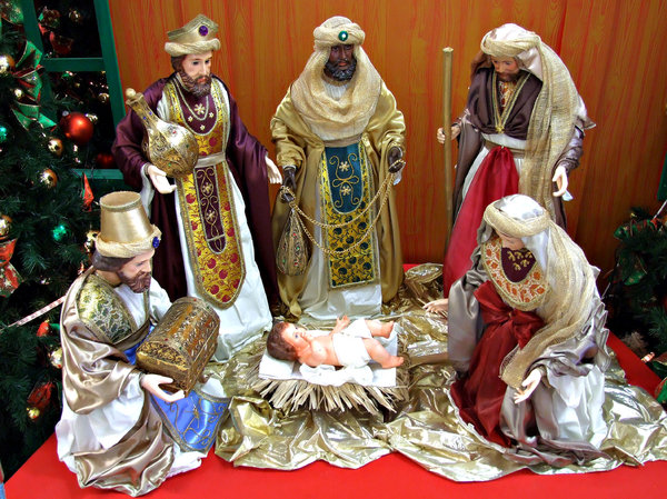 christmas colours miniature table top nativity scene and decorations