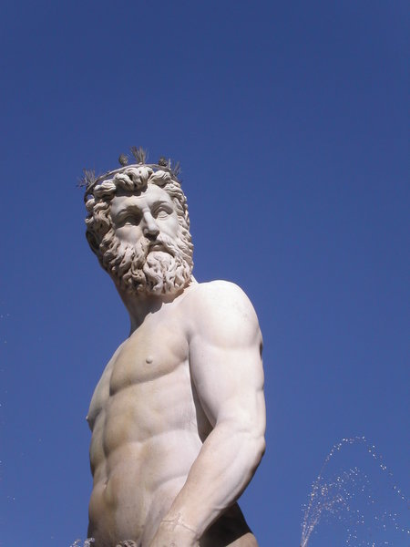 neptun: neptun on a neptun-fountain in florence, italy