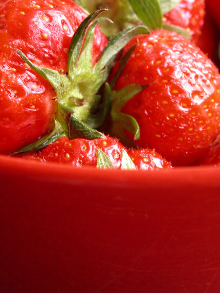 strawberry-pot: some strawberries in a red bowl