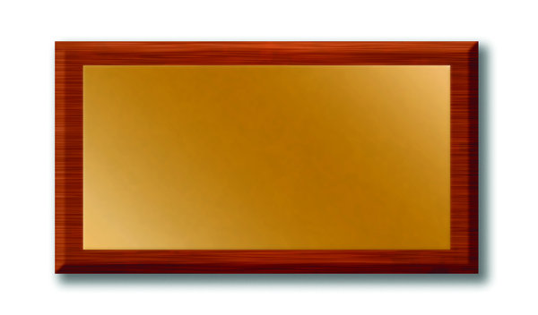 Wood and Brass Plaque 2: Woodand brass door or wall plaque.  Digitally created with lots of copy space.