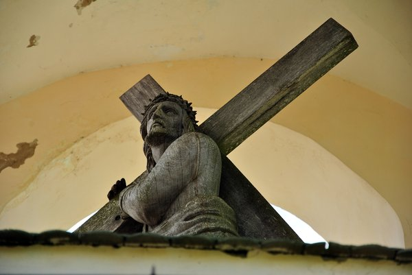 Jesus Christ: Wooden sculpture of Jesus Christ in chapel.