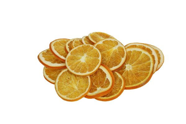 dry fruits series: dried slices of grapefruits, oranges, lemons and limes isolated on white
