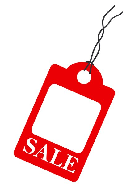 Sale Tag: A shop sale tag, red on white illustration.