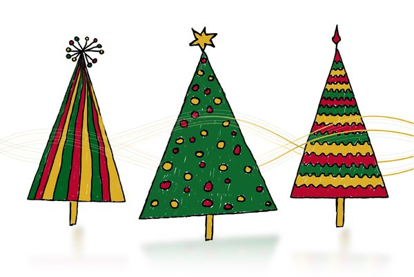 Christmas trees illustration: hand drawn Christmas trees