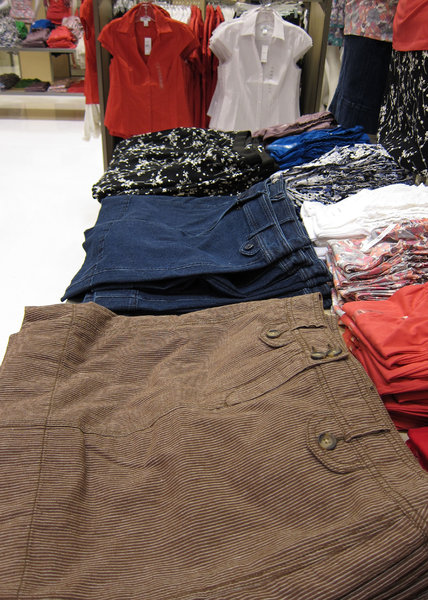 Clothing: Clothing in a store.