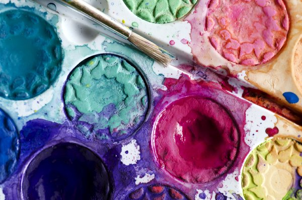 Watercolor paint: paint brush and watercolor paint