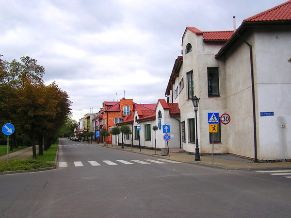 Town's street: A colorful street in Lowicz.