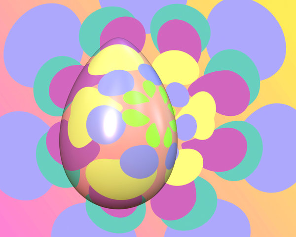 Pastel Easter Egg 1: An Easter egg with pastel coloured patterns against a similarly pattered background.