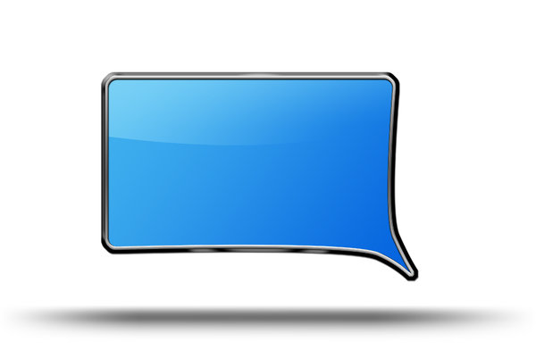 Text balloon: Blue and metal text balloon illustration