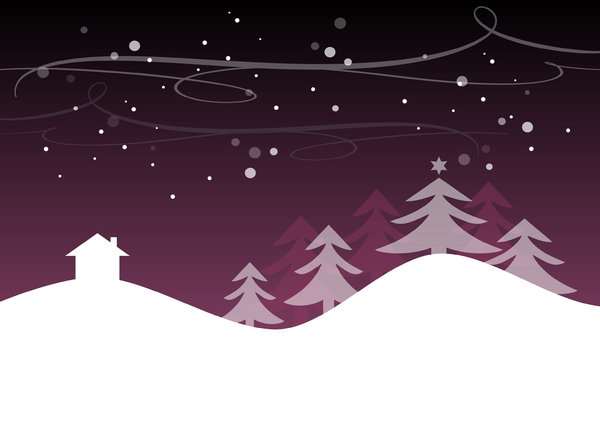Christmas landscape background: Christmas background with snowy christmas landscape, house and trees