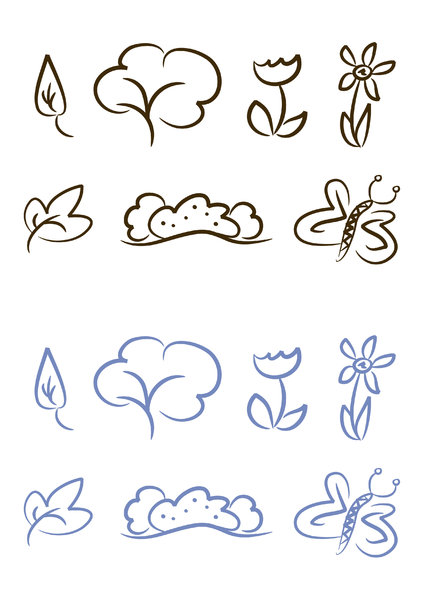 Symbol/Icon set: Nature: Set of seven simple nature illustrations including leaf, tree, flower, bush and butterfly (two color versions included)