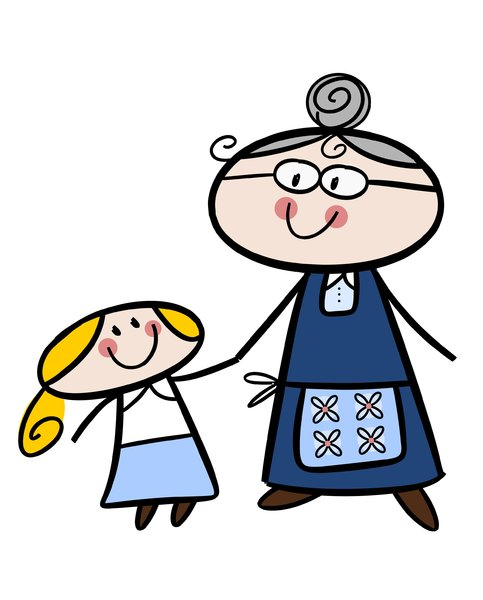 Grandma and granddaughter: Colorful cartoon illustration of a happy little girl with her grandmother