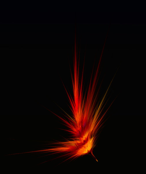 Phoenix Feather, abstract: Fantasy feather aflame, need to view at full size.
